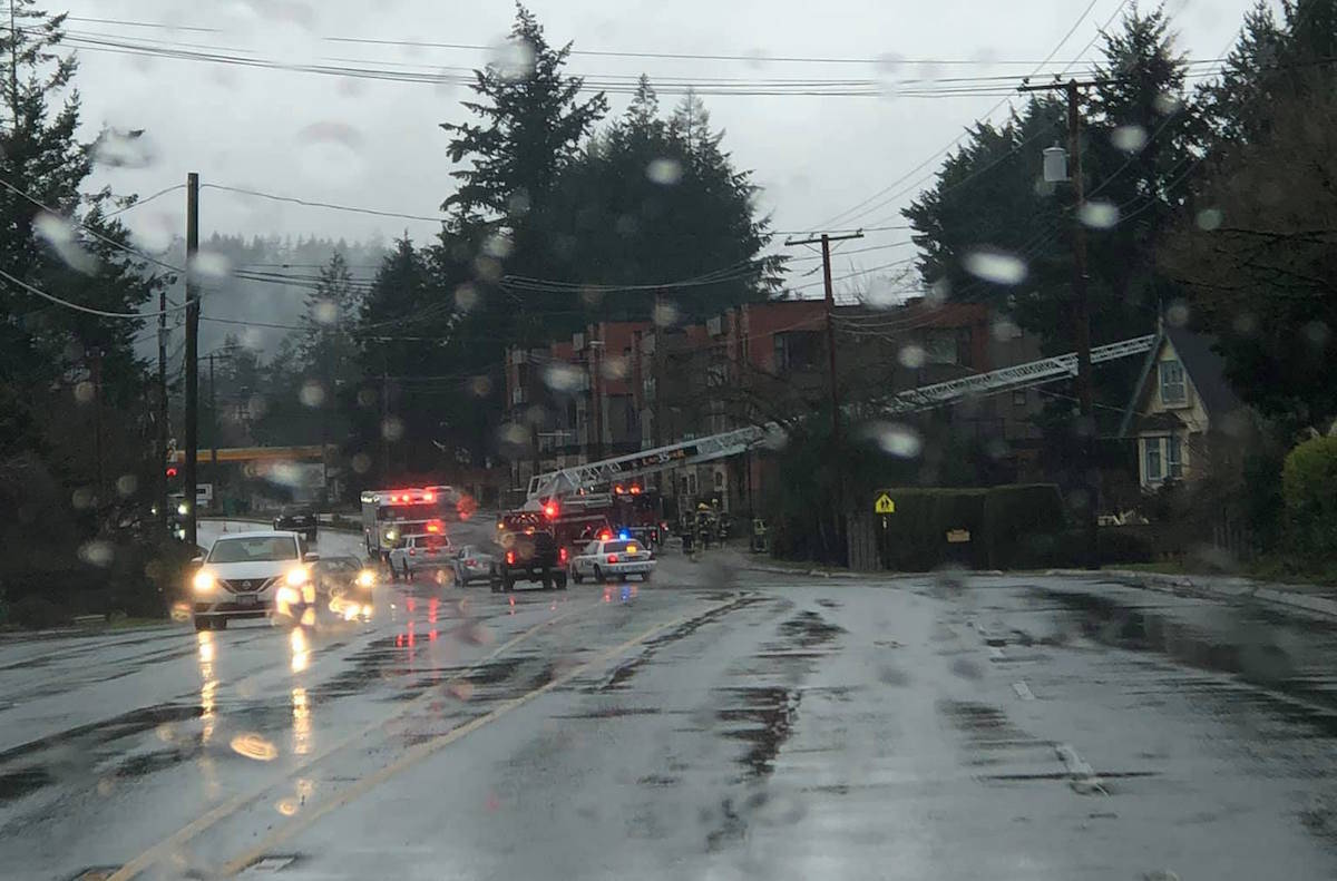 Colwood Fire Rescue is reminding the public to only burn dry, seasoned wood in fireplaces after heavy smoke filled the intersection of Sooke Road and Acacia Drive when a homeowner tried burning a plastic item on Sunday, Jan. 24. (Emily Jessop photo)