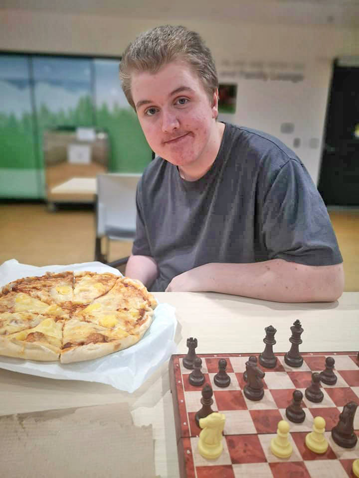 Keygan Power, pictured at B.C. Children's Hospital, plays chess five to seven times a day during his recovery care. Keygan suffered a life-threatening brain hemorrhage on Aug. 2, 2020. (Photo Allison Power)