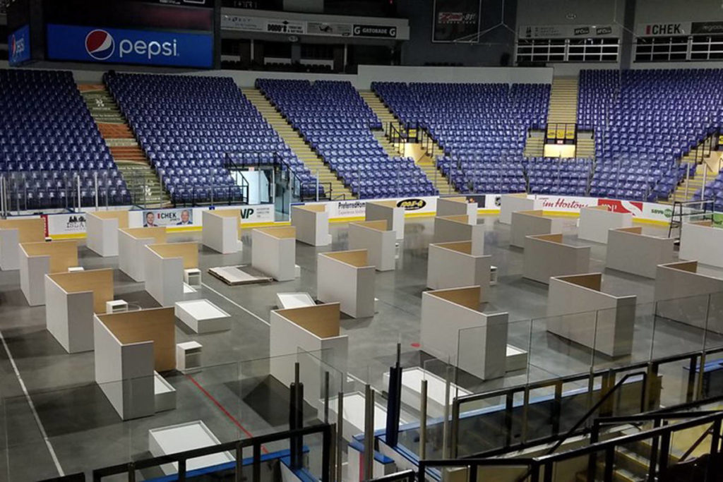 The Save-On-Foods Memorial Centre will once again be transformed into temporary sheltering for 45 individuals starting in March. (Courtesy of the B.C. Government)