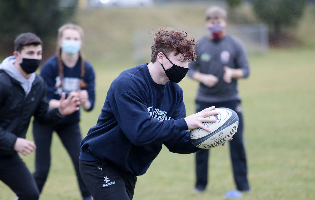 Justin Marinier trains with a small group of rugby players at Maple Bay Elementary School on Sunday, Jan. 31. The Cowichan Secondary School graduate is on the fast track to the national program and isn't letting the COVID-19 pandemic slow him down. (Kevin Rothbauer/Citizen)