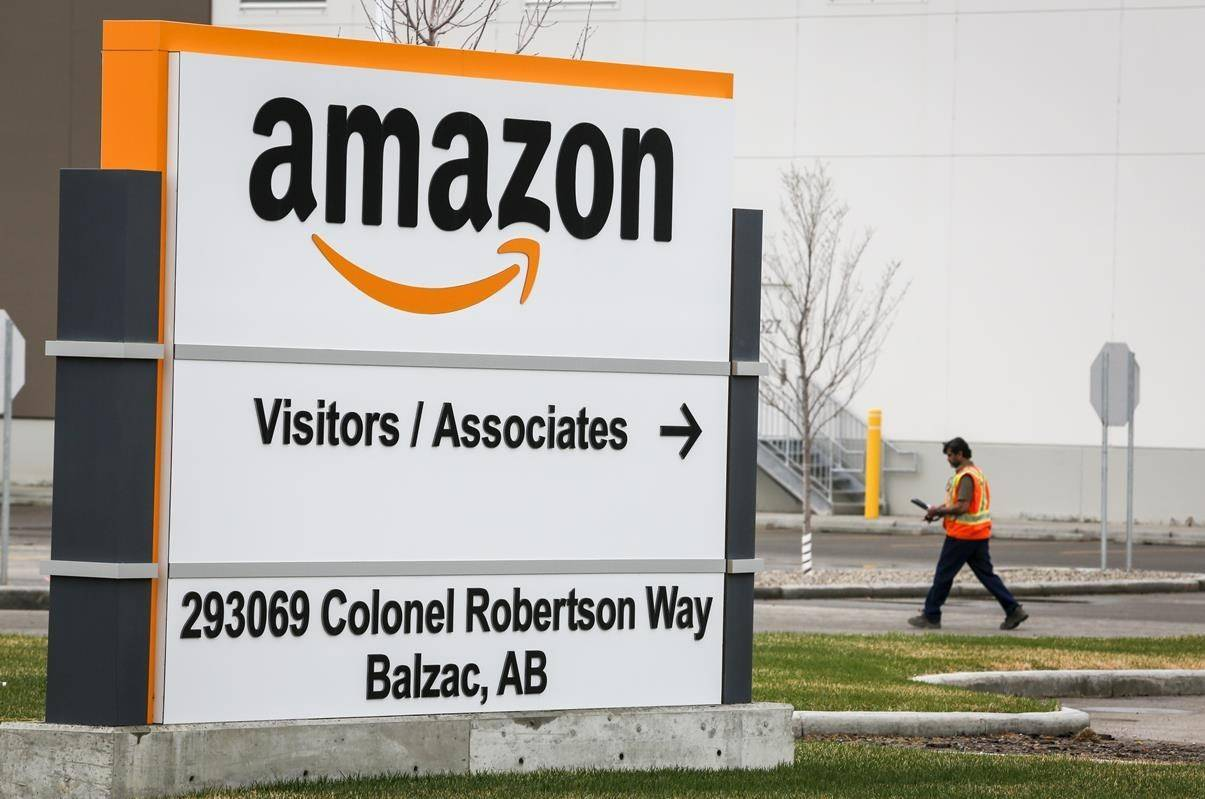 An Amazon warehouse north of Calgary in Balzac, Alta., is shown on Monday, May 4, 2020. THE CANADIAN PRESS/Jeff McIntosh