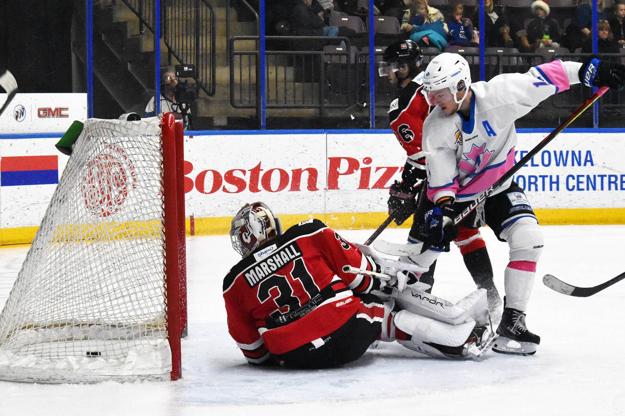 Jack Barnes, who was Cowichan Valley Capitals property from May 2020 until last week, scores a goal for the Penticton Vees during the 2019-20 BCHL season. (Brennan Phillips/Black Press)