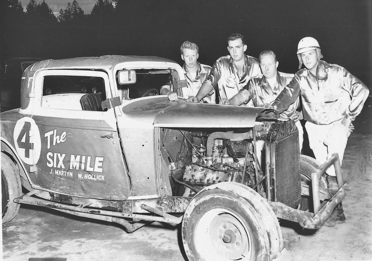 1957 photo shows Six Mile House-sponsored #4 1932 Ford stock car with Frank Morris (from left), Ted Mackenzie, Bill Sim and driver Gerry Sylvester. (Bud Glover/Victoria Auto Racing Hall of Fame)