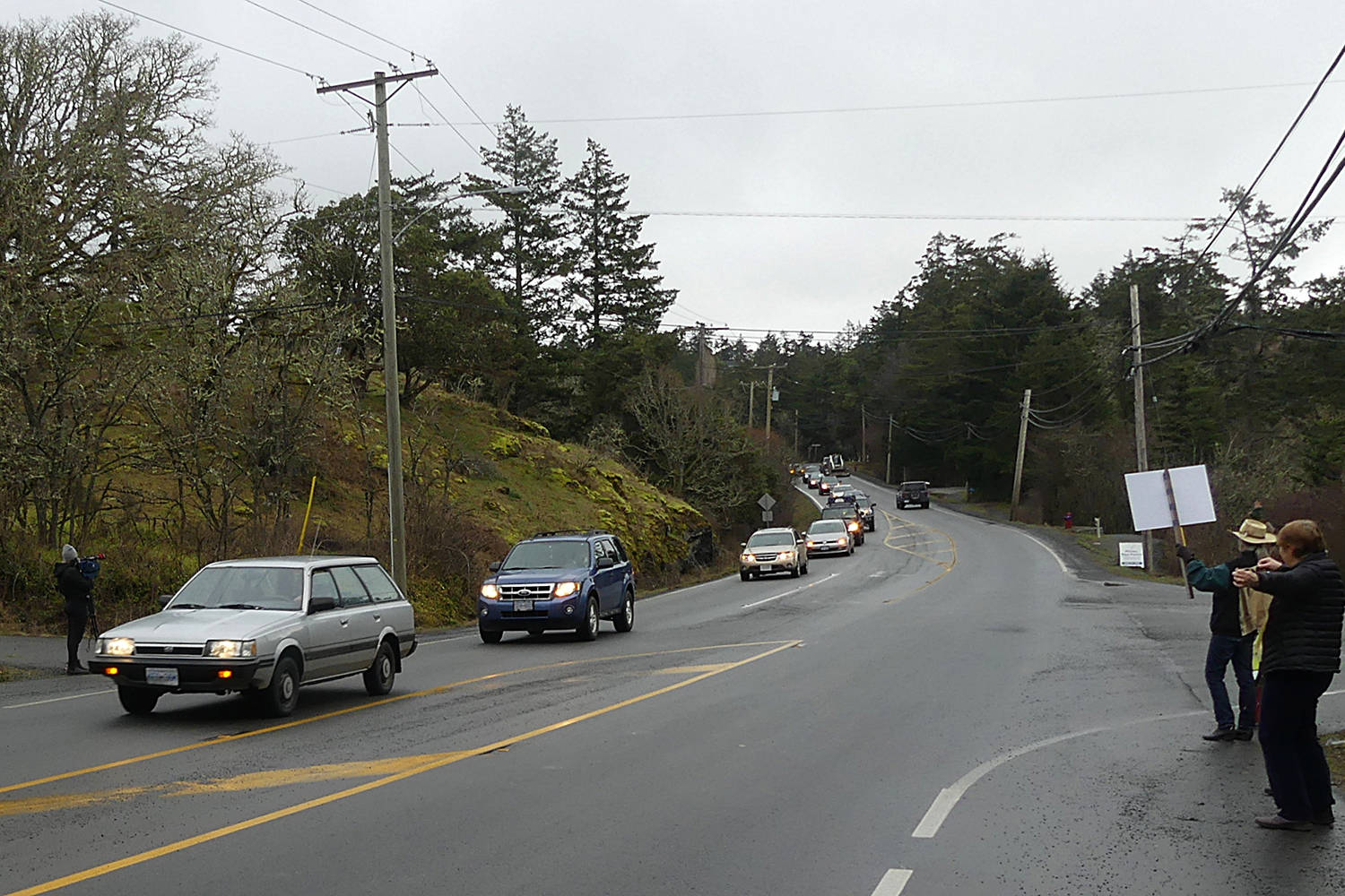 Organizers say some 100 vehicles rallied against plans by the Boys & Girls Club of Greater Victoria to sell 40 acres of its 98-acre property in Metchosin. (Barb Sawatsky/Submitted)