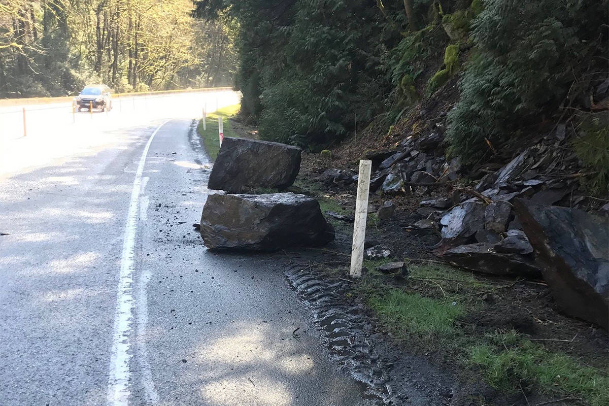 A rockfall closed Finlayson Arm Road and West Shore Parkway on Friday (March 5) afternoon. (Twitter/BC Transportation)