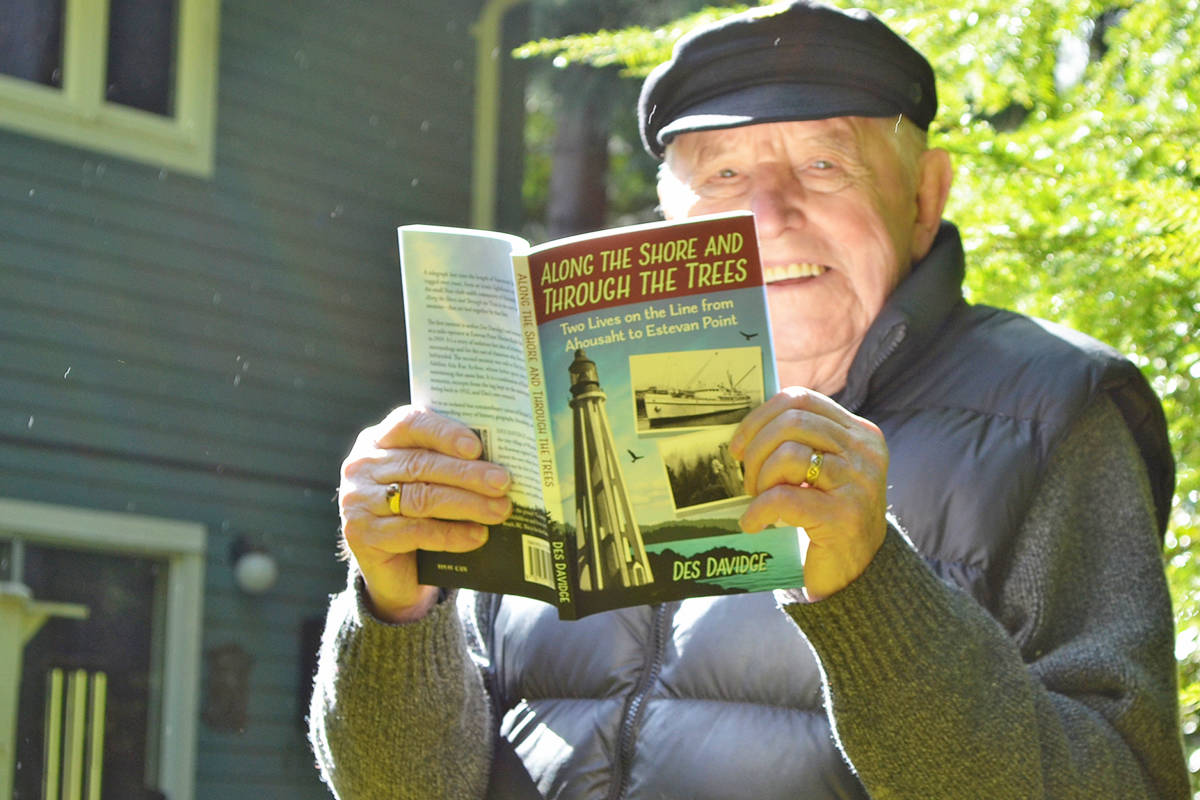 Author Des Davidge with his first book, 'Along The Shore And Through The Trees', on Thursday, March 18, 2021. It depicts Davidgeas own memoirs and those of his late wife, whose father spent more than three decades maintaining a telegraph line. (Mandy Moraes photo)