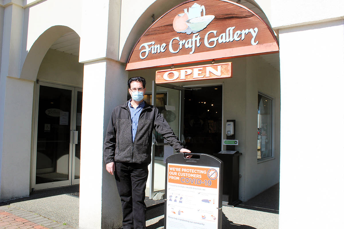 Chemainus Theatre facilities manager Damion Knight outside the gallery and gift shop that was targeted by thieves early Monday morning. (Photo by Don Bodger)