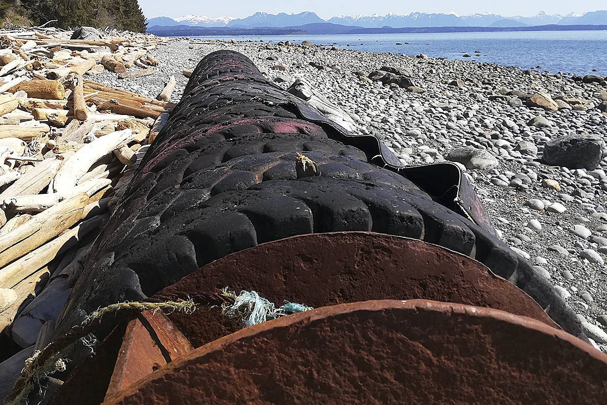 The Quadra Island Beach Clean Team hopes someone recognises this large fender. It's 30 loader tires welded together with steel girders and brackets. They would like to find the owners and ask them to come and take it back. Find the Quadra Island Beach Clean Team on Facebook or quadrabeachclean@gmail.com. Photo submitted