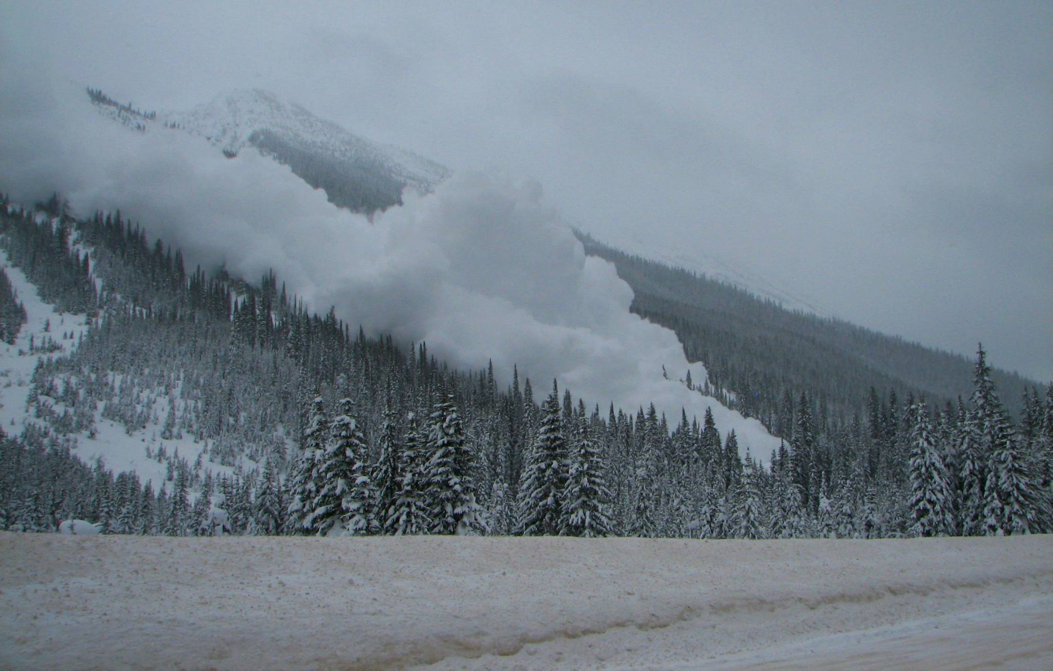 Avalanche near Highway 1 in Glacier National Park. (Photo by Parks Canada)