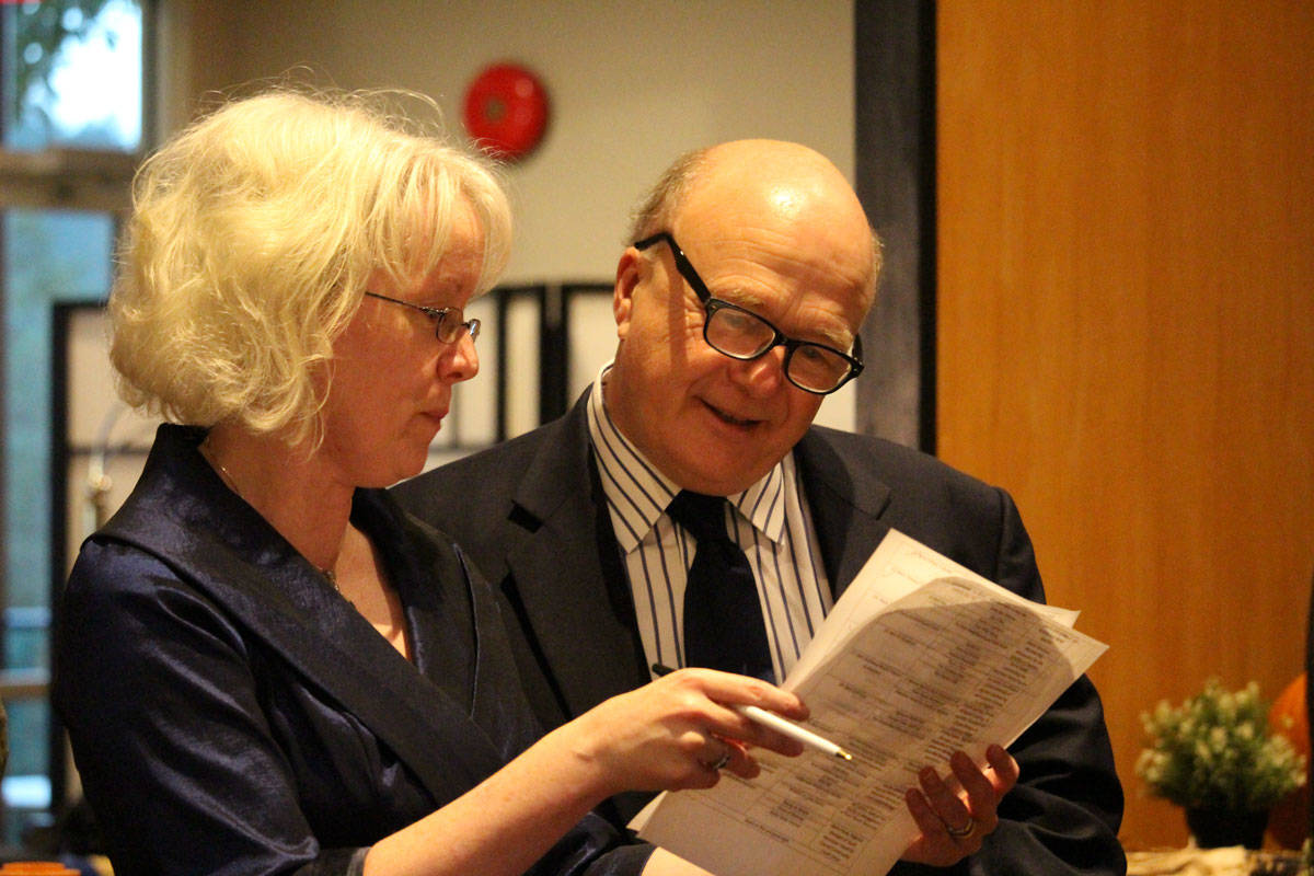 WestShore Chamber of Commerce executive director Julie Lawlor and View Royal Mayor David Screech review their script ahead of a previous Best of the WestShore Awards celebration. (Black Press Media file photo)