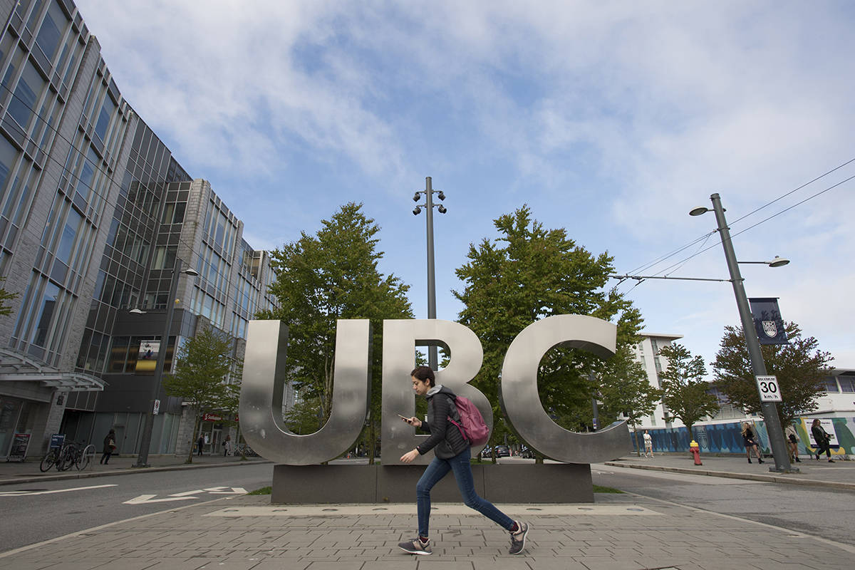 FILE – The UBC sign is pictured at the University of British Columbia in Vancouver, Tuesday, Apr 23, 2019. THE CANADIAN PRESS/Jonathan Hayward