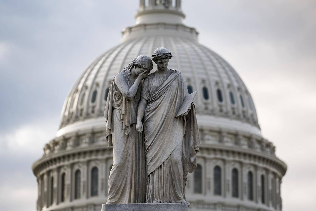 The Capitol Dome looms behind the Peace Monument statue in Washington, Friday, May 28, 2021, as the Senate tries to finish to its work going into the Memorial Day recess with Republican leaders insisting they will block a commission on the Jan. 6 insurrection by a mob loyal to former President Donald Trump. (AP Photo/J. Scott Applewhite)