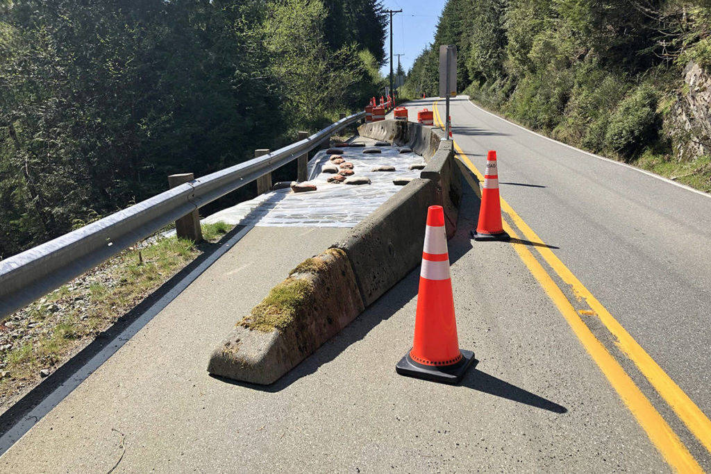 This stretch of Highway 14 on Parkinson Hill near Port Renfrew has been limited to one lane of traffic since a road washout in 2018. (File - Sooke News Mirror)