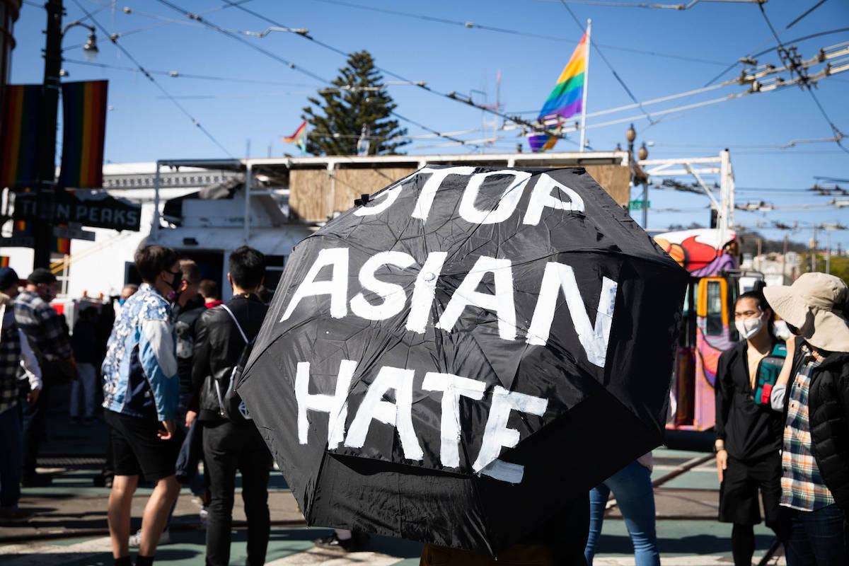 Demonstrators rally in light of recent increased reports of anti-Asian hate crimes. (Ekevara Kitpowsong)