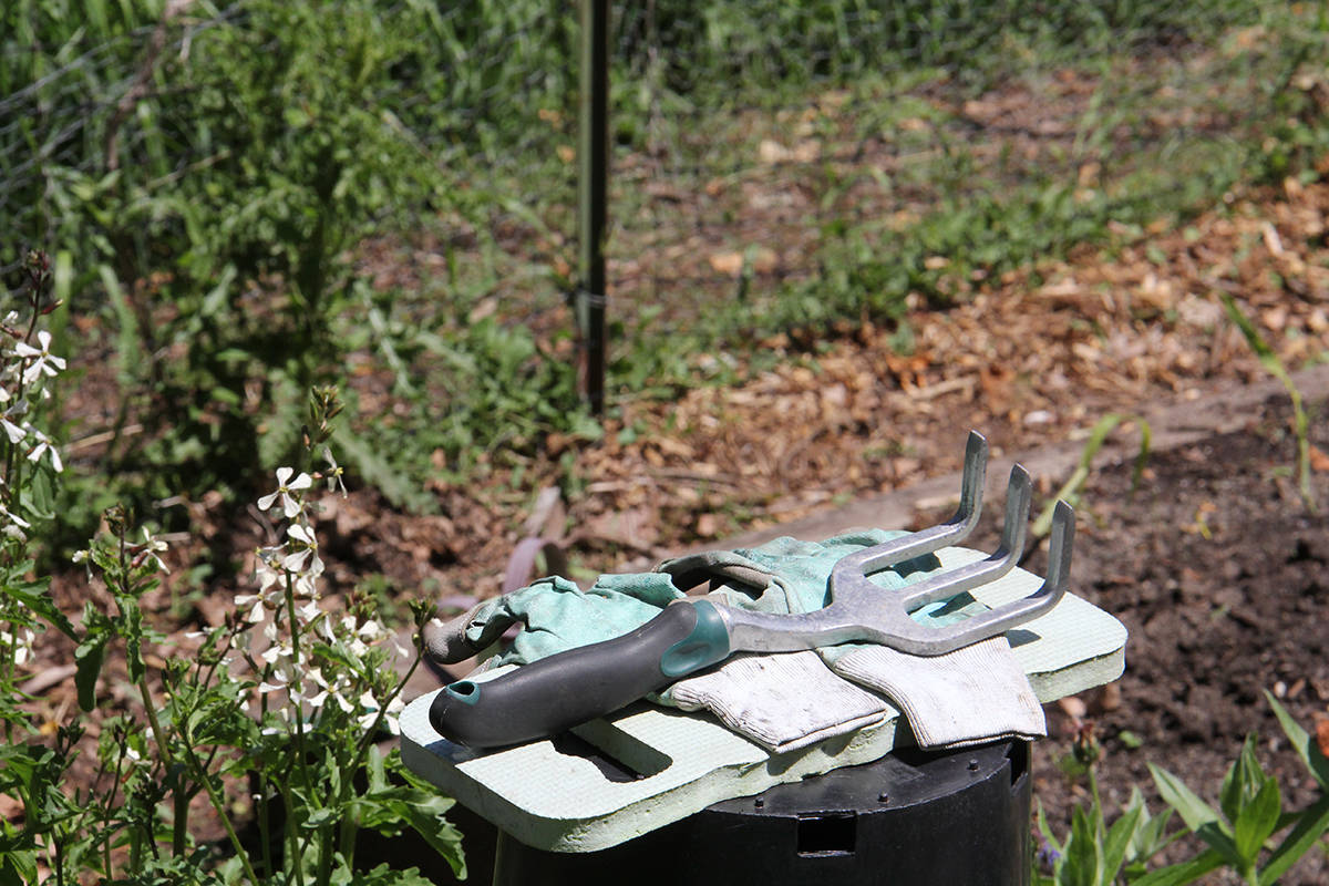 Tools at the ready in the Oak Bay community gardens. (Christine van Reeuwyk/News Staff)