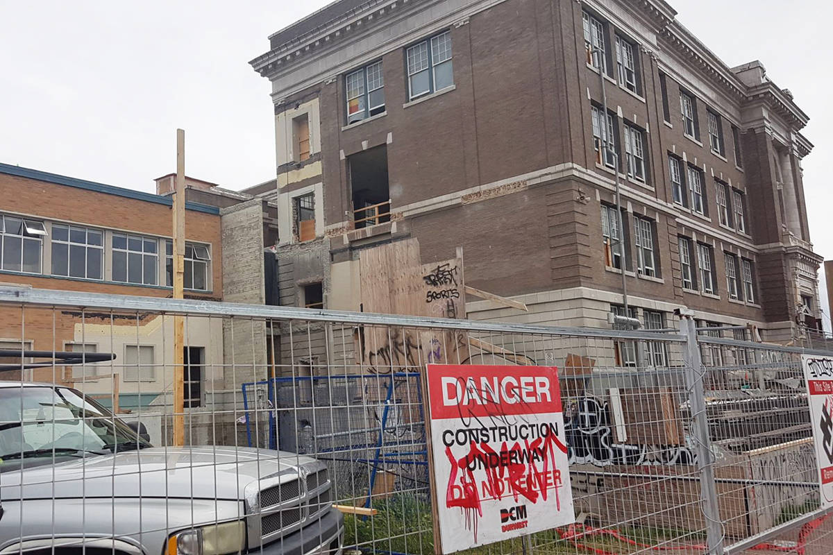 Seismic upgrading and expansion work at Victoria High School is about a year behind due to pandemic-related factors, the Greater Victoria School District announced. (Photo by Cole Descoteau)
