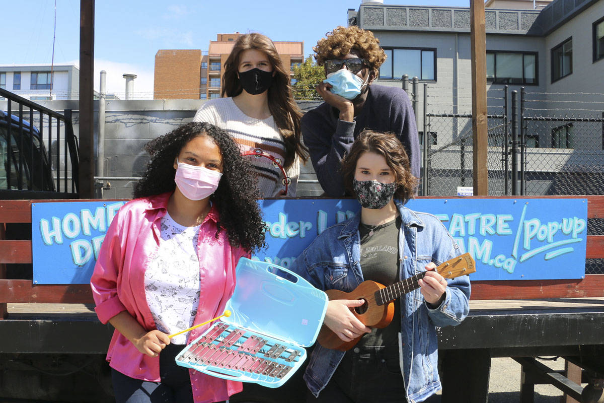 Theatre SKAM is offering mobile, pop-up performances to Greater Victoria residents once again this summer. They'll feature emerging artists Yasmin D'Oshun, Courtney Crawford, Kaelan Bain and Kendra Bidwell (left to right). (Courtesy of Theatre SKAM)