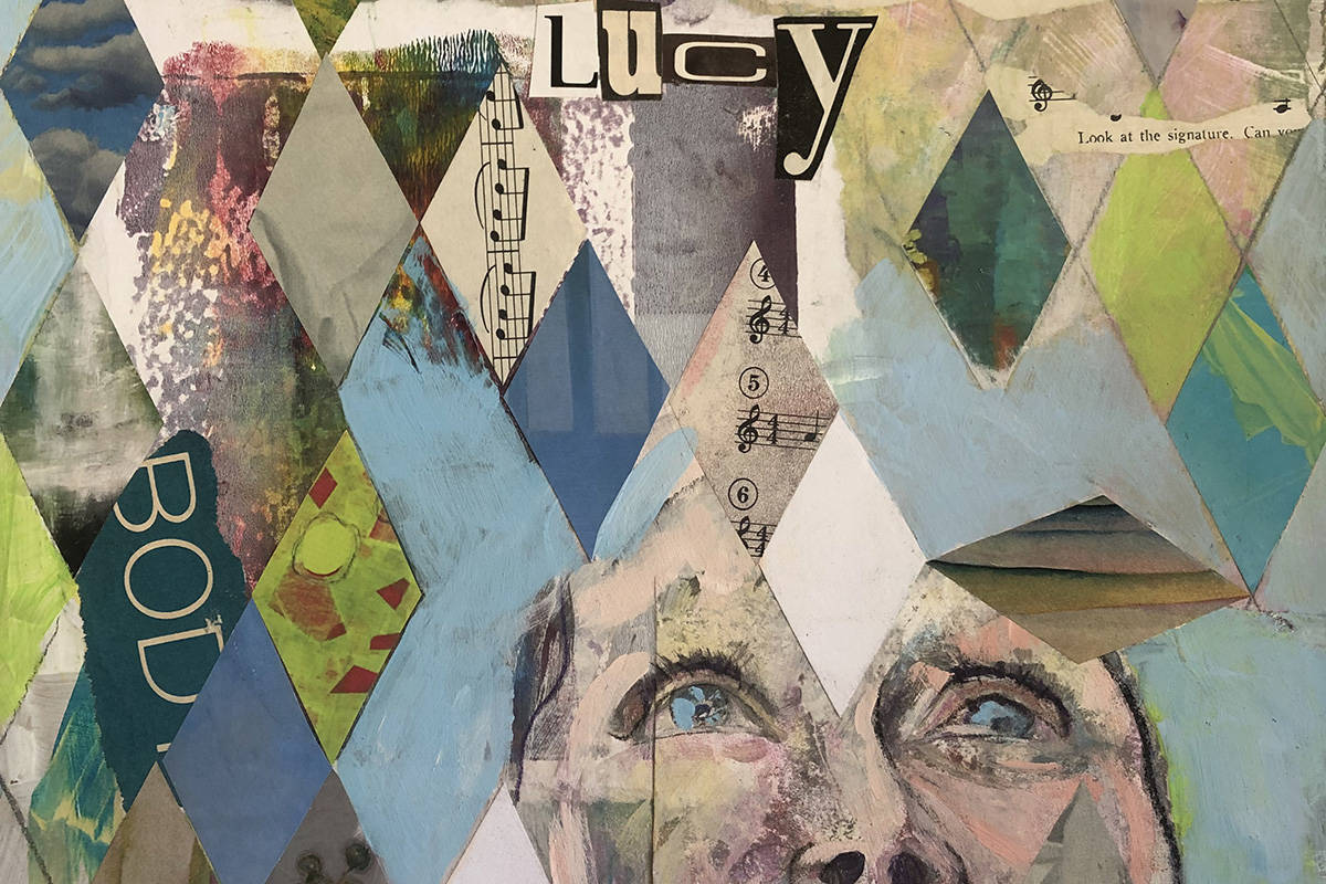 An acrylic and collage piece entitled Lucy, years later, by illustrator Marcia Semenoff. The Lucy in the Sky with Diamonds and Other Favourite Songs exhibit runs July 6 to 25 at the Tillicum Centre. (Courtesy of Marcia Semenoff)