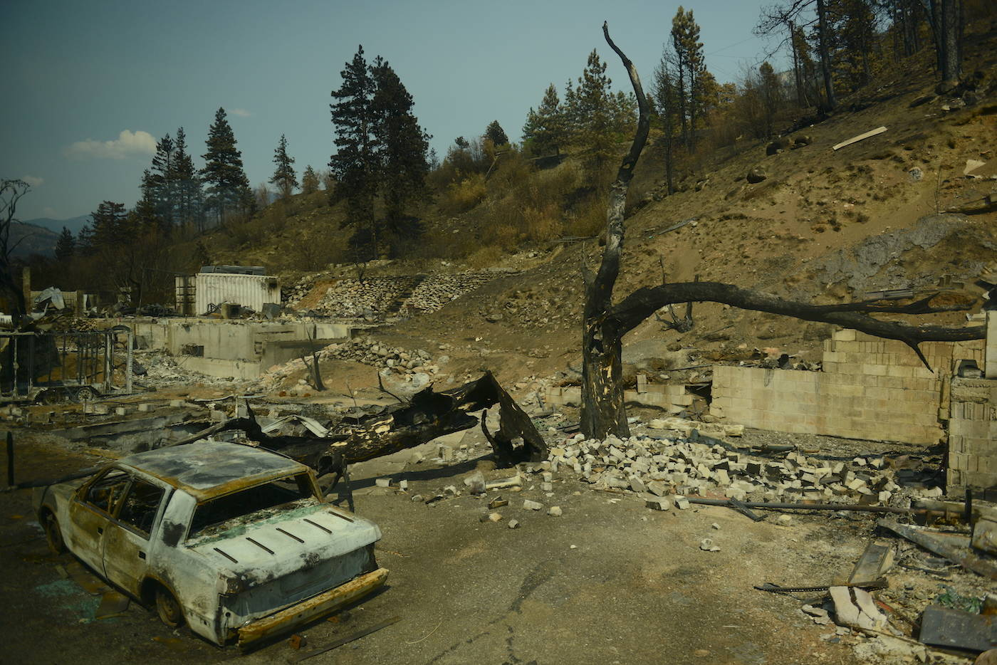 A view of Lytton, B.C. on Friday, July 9, 2021, nine days after a wildfire ripped through the village on June 30, 2021. (Jenna Hauck/ Black Press Media)