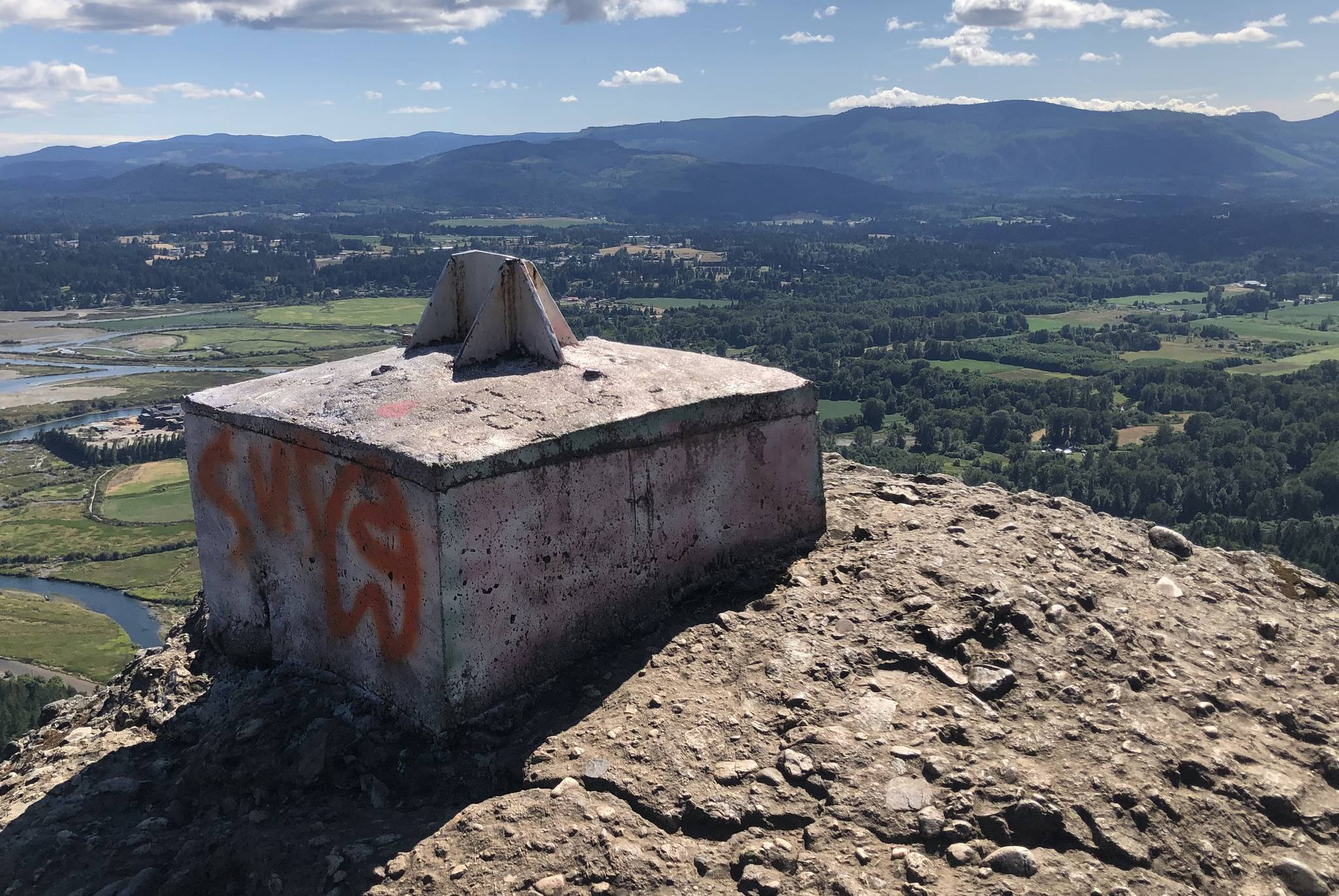 The cross that has overlooked the Cowichan Valley from Mount Tzouhalem for more than 30 years was cut down sometime overnight between July 16 and 17. (Kevin Rothbauer/Citizen)