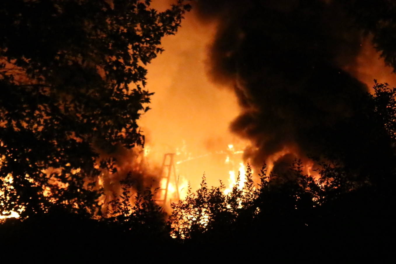 All four North Cowichan fire departments responded to a blaze on Hall Road Tuesday night. (Kevin Rothbauer/Citizen)