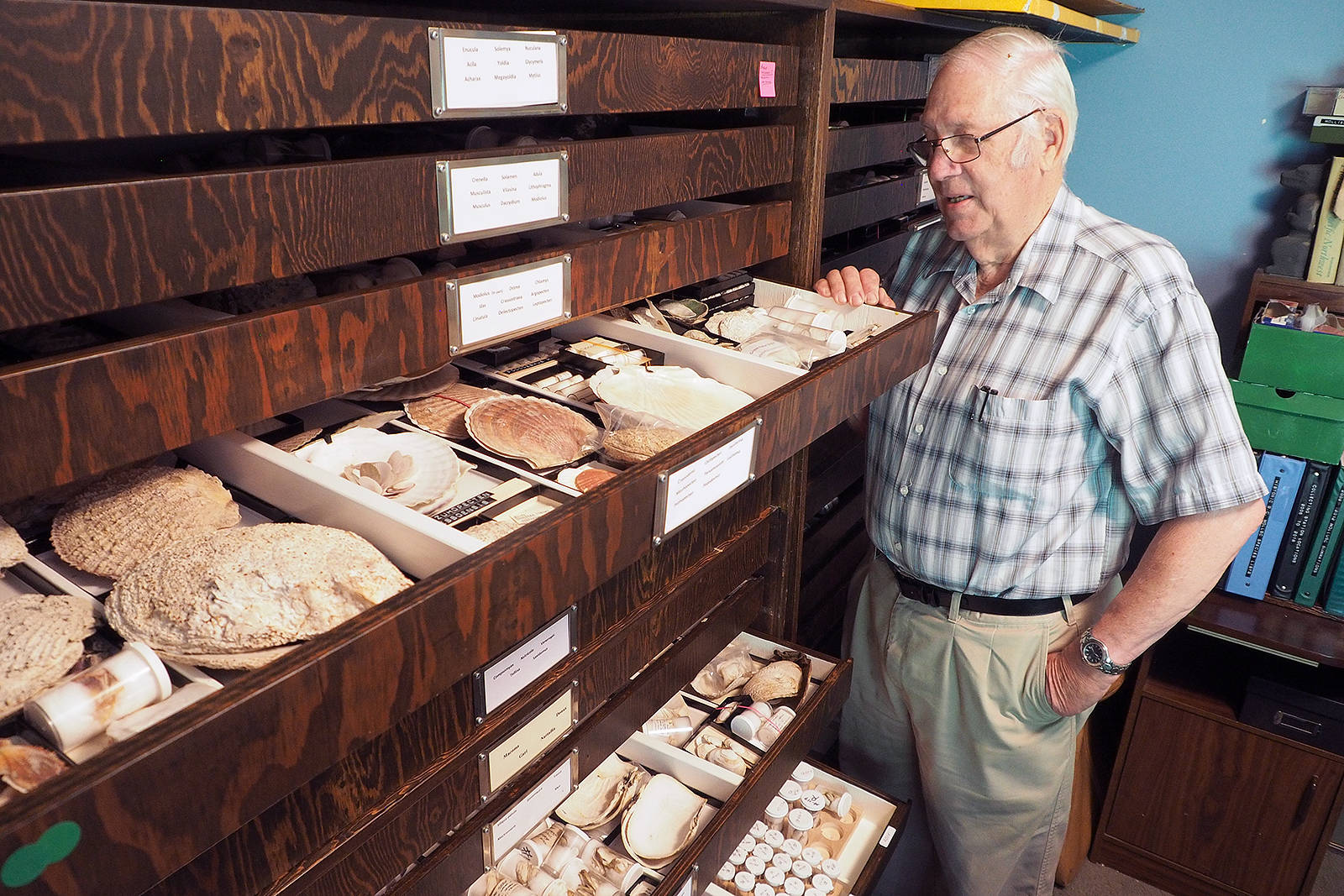 Bill Merilees, a retired B.C. Parks regional information officer, collected mollusk shells from B.C. and Washington state coastlines for 50 years and has donated his 140,000-specimen collection to University of British Columbia's Beaty Biodiversity Museum. (Chris Bush/News Bulletin)