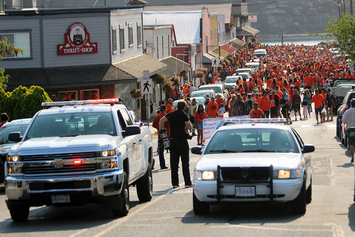 Penelakut Tribe's March for the Children begins. (Photo by Don Bodger)
