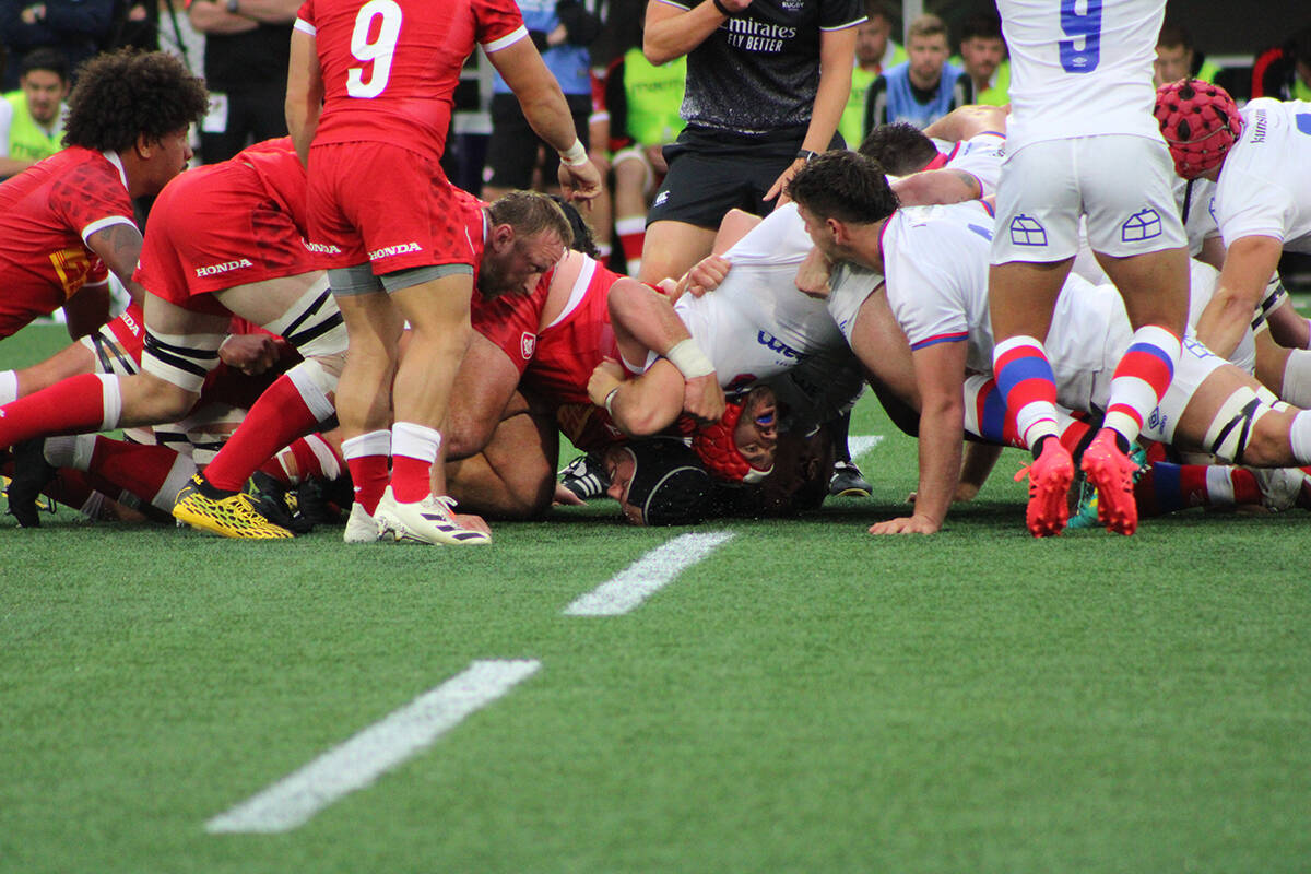 The Canadian rugby men's 15s beat Chile during a World Cup qualifier match in Langford on Oct. 2. (Jake Romphf/News Staff)