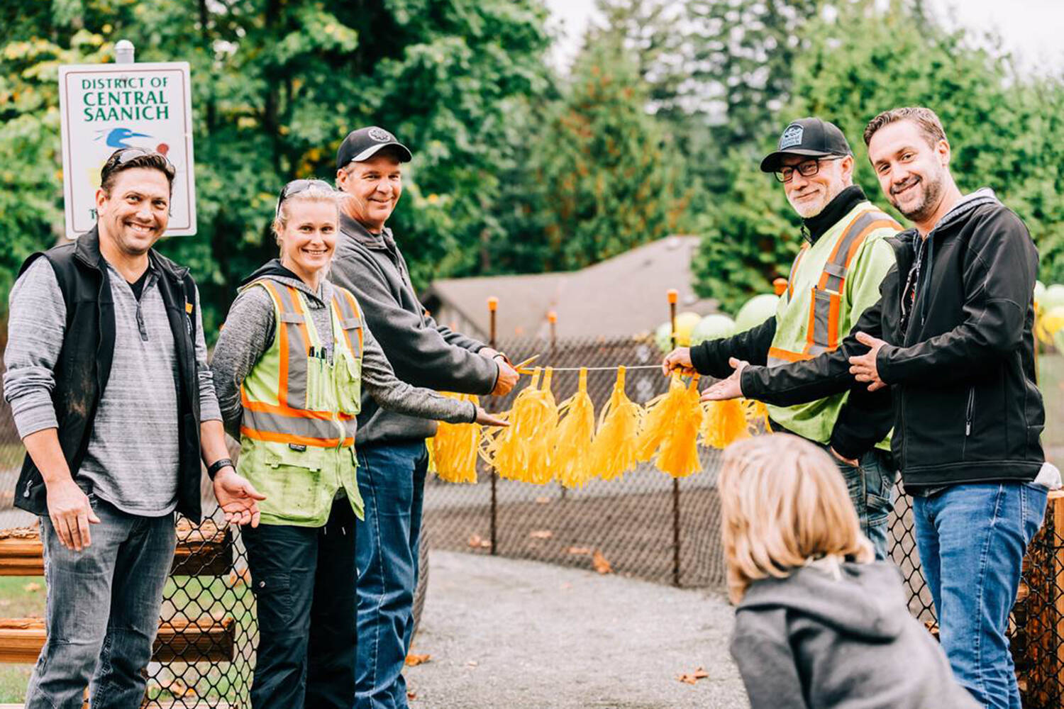 Mayor Ryan Windsor (right) was among Central Saanich officials during the opening of Tanner Park Sept. 29. (Photo courtesy of the District of Central Saanich)
