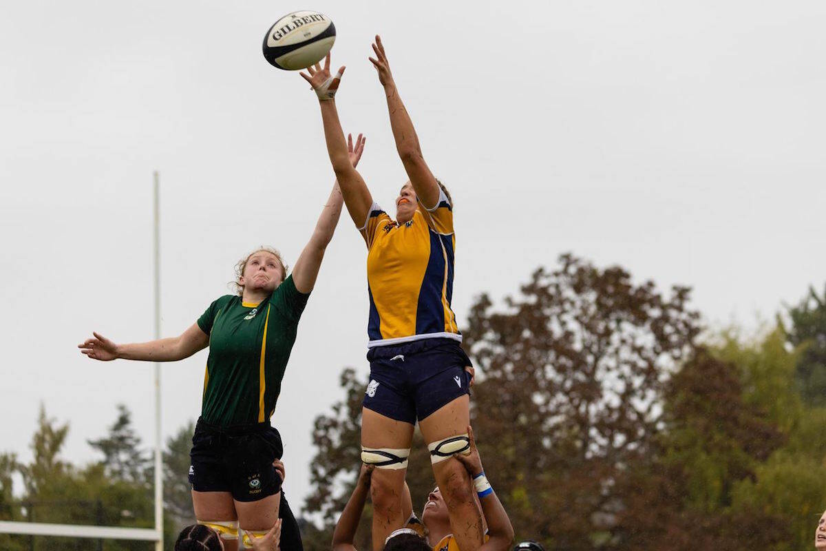 A member of the University of Victoria women's rugby team secures a line-out against the University of Alberta on Sept. 26. (Photo courtesy of the University of Victoria)